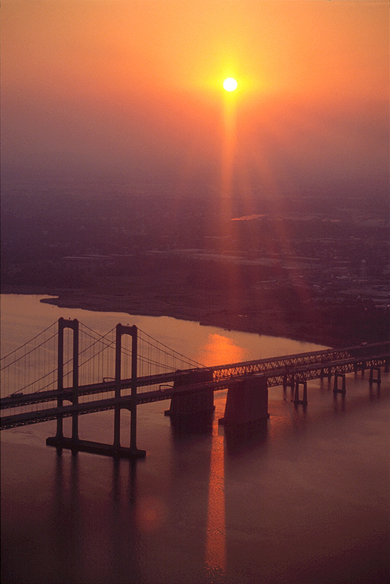 Delaware Memorial Bridge, Sunset